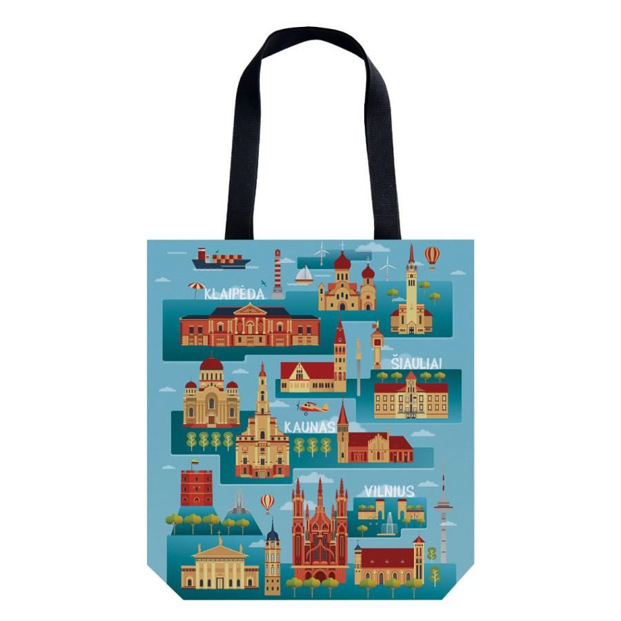 """08. Handbag """"Lithuania towns"""""""